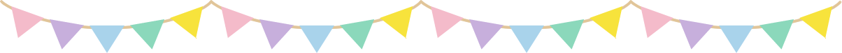 三角フラッグガーランドのライン飾り罫線イラスト(柄なし)
