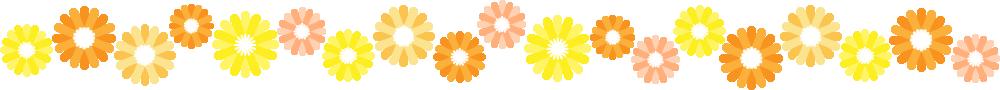 ガーベラのライン飾り罫線イラスト(オレンジ)