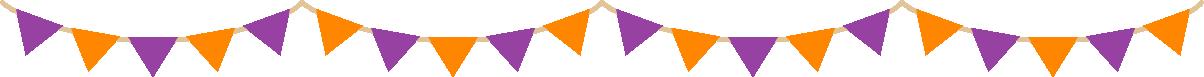 ハロウィンカラーの三角フラッグガーランド型ライン飾り罫線イラスト(紫色・オレンジ色)