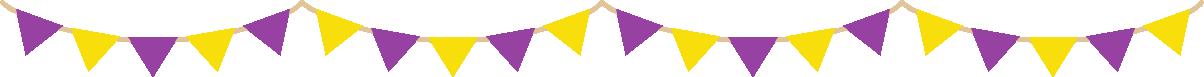 ハロウィンカラーの三角フラッグガーランド型ライン飾り罫線イラスト(紫色・黄色)