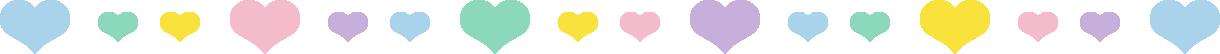 ハートのライン飾り罫線イラスト(パステル)