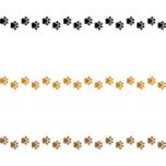 犬の足跡(肉球)のライン飾り罫線イラスト