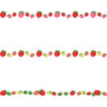 苺のライン飾り罫線イラスト