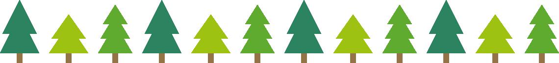 樹木のライン飾り罫線イラスト1