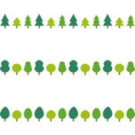 樹木のライン飾り罫線イラスト
