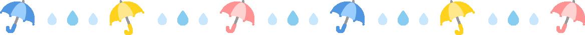 傘と雨粒のライン飾り罫線イラスト
