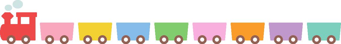 かわいい汽車(蒸気機関車)のライン飾り罫線イラスト1