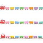 かわいい汽車(蒸気機関車)のライン飾り罫線イラスト