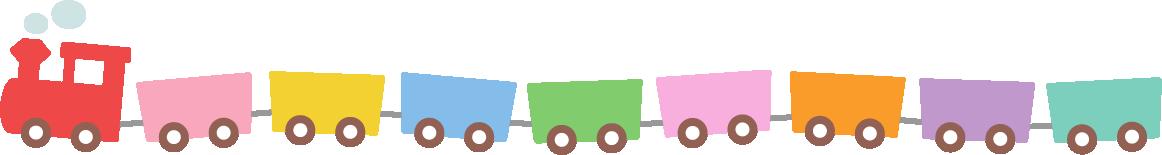 かわいい汽車(蒸気機関車)のライン飾り罫線イラスト2