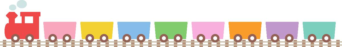 かわいい汽車(蒸気機関車)のライン飾り罫線イラスト3
