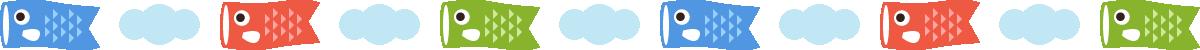 鯉のぼりと雲のライン飾り罫線イラスト
