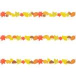 紅葉した落ち葉のライン飾り罫線イラスト