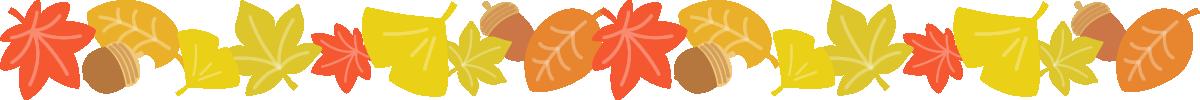 紅葉した落ち葉とどんぐりのライン飾り罫線イラスト