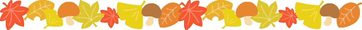 紅葉した落ち葉ときのこのライン飾り罫線イラスト