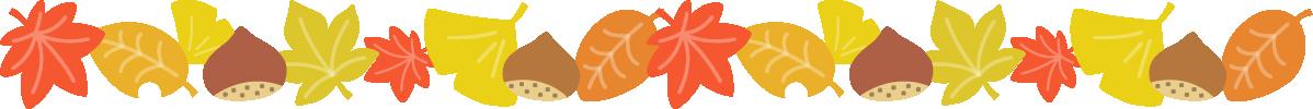 紅葉した落ち葉と栗のライン飾り罫線イラスト