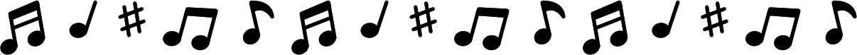 音符のライン飾り罫線イラスト(黒)