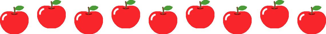 りんごのライン飾り罫線イラスト1