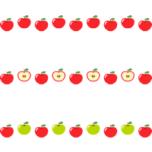 りんごのライン飾り罫線イラスト