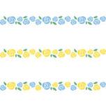 青色と黄色のバラのライン飾り罫線イラスト