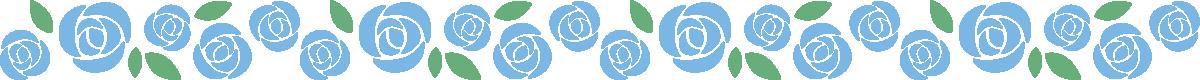 青色と黄色のバラのライン飾り罫線イラスト(青)