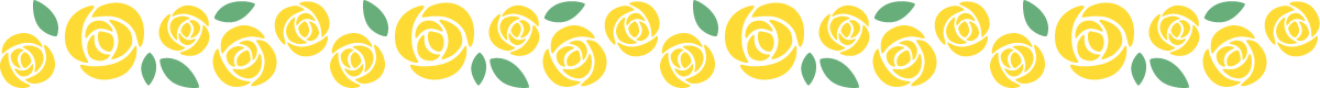 青色と黄色のバラのライン飾り罫線イラスト(黄色)