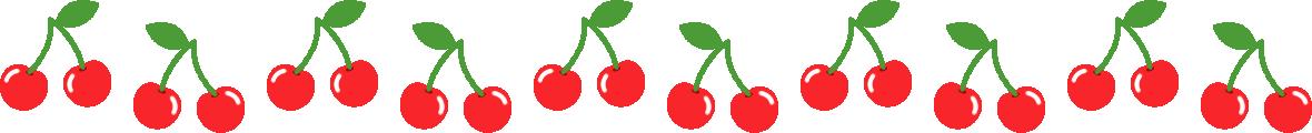 さくらんぼのライン飾り罫線イラスト1