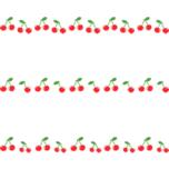 さくらんぼのライン飾り罫線イラスト