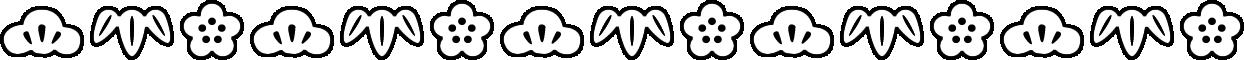 松竹梅のライン飾り罫線イラスト(白黒)
