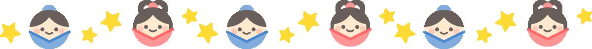七夕のライン飾り罫線イラスト(織姫と彦星)