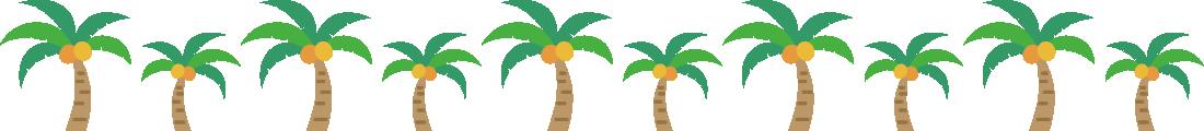 ヤシの木のライン飾り罫線イラスト1