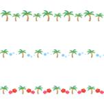 ヤシの木のライン飾り罫線イラスト