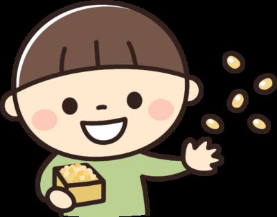 豆まきをするかわいい男の子のイラスト