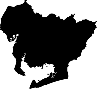 愛知県地図の無料イラストフリー素材(モノクロ・シルエット)