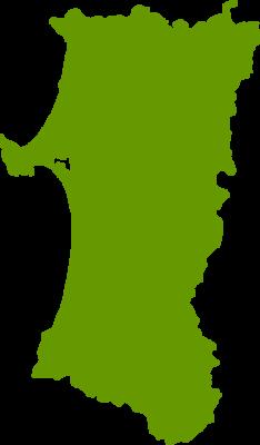 秋田県地図の無料イラストフリー素材