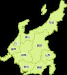 中部地方の地図イラスト(都道府県名入り)