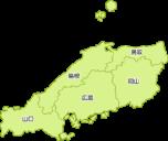 中国地方の地図イラスト(都道府県名入り)