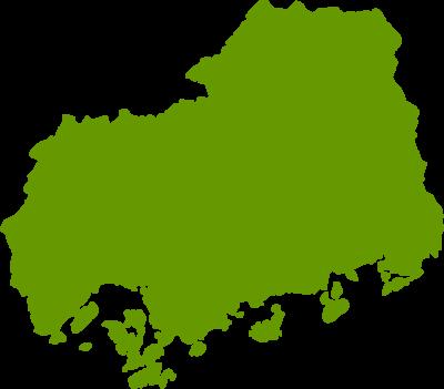 広島県地図の無料イラストフリー素材
