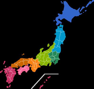 日本地図のイラスト(地域色分け:都道府県境界線入り)