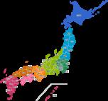 日本地図のイラスト(地域色分け:都道府県名入り)