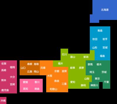 日本地図のデフォルメイラスト(地域色分け:都道府県名入り)