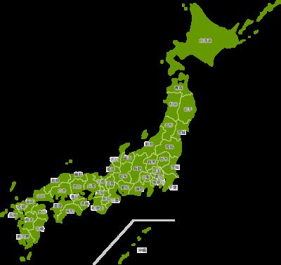 日本地図のイラスト(都道府県名入り)