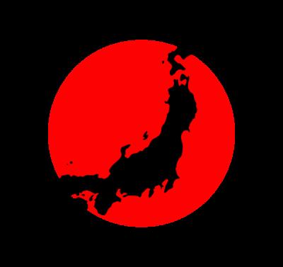 日本地図と日の丸のイラスト