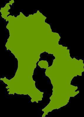 鹿児島県地図の無料イラストフリー素材
