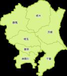 関東地方の地図イラスト(都道府県名入り)