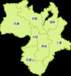 近畿地方の地図イラスト(都道府県名入り)