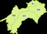 四国地方の地図イラスト(都道府県名入り)