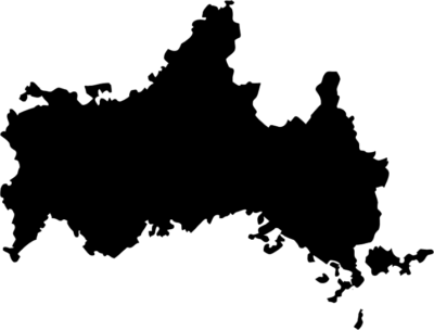 山口県地図の無料イラストフリー素材(モノクロ・シルエット)