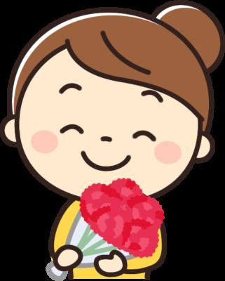 母の日にカーネーションの花束をもらうお母さんのイラスト