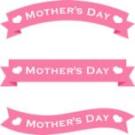 母の日のリボンイラスト(ピンク)