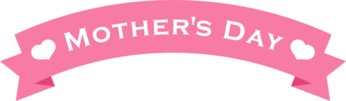 母の日のリボンイラスト(ピンク:アーチ型)
